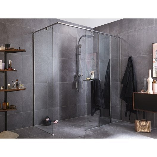 paroi de douche l 39 italienne cm verre transparent 8 mm eliseo leroy merlin. Black Bedroom Furniture Sets. Home Design Ideas