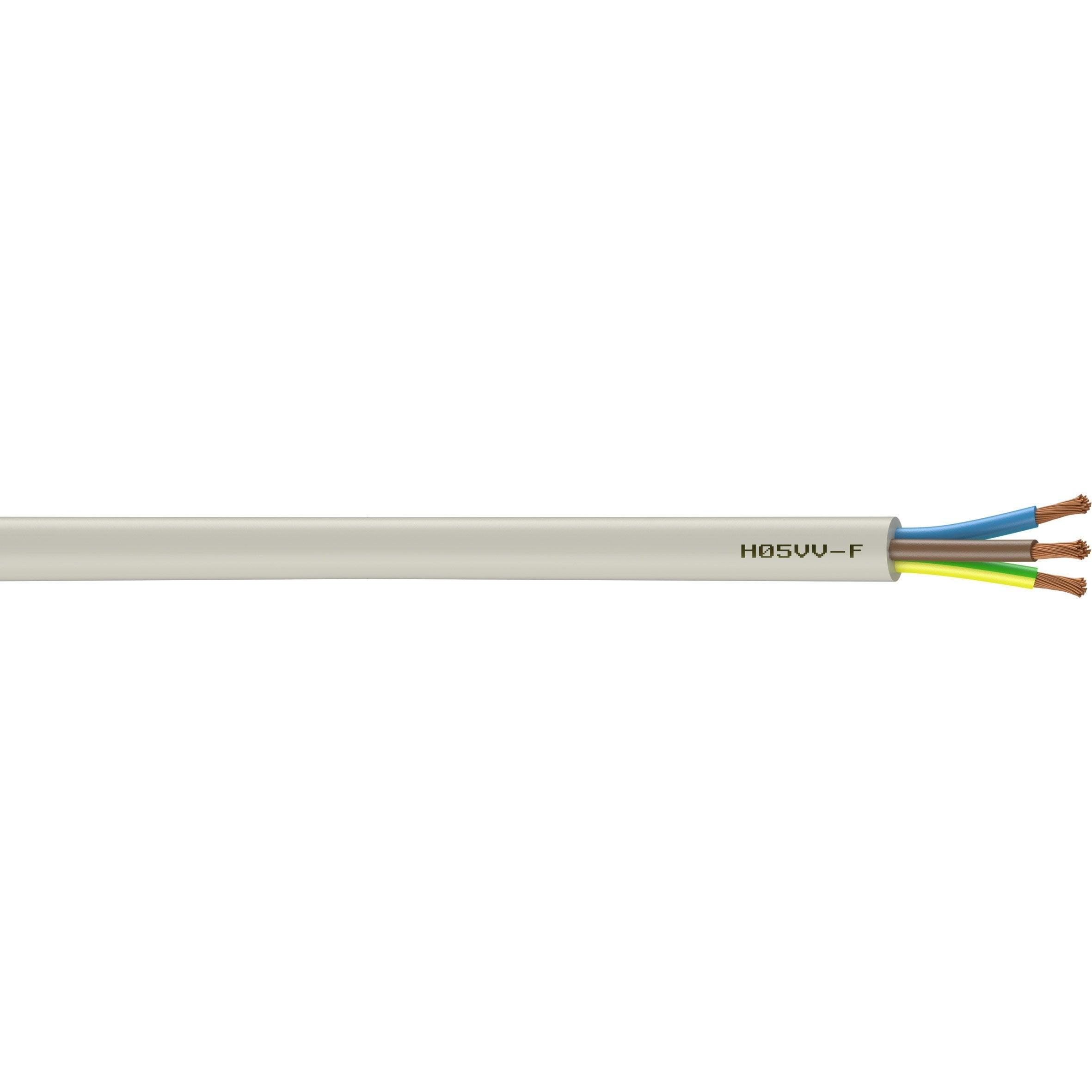câble électrique 3 g 15 mm² ho5vvf l5 m blanc  leroy