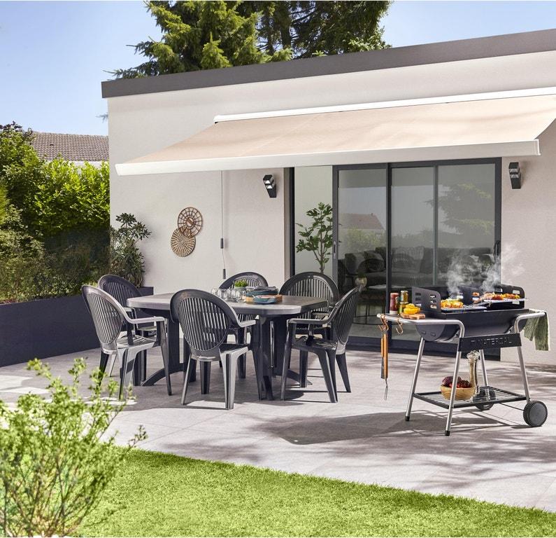 Table de jardin de repas GROSFILLEX Véga rectangulaire anthracite 8  personnes