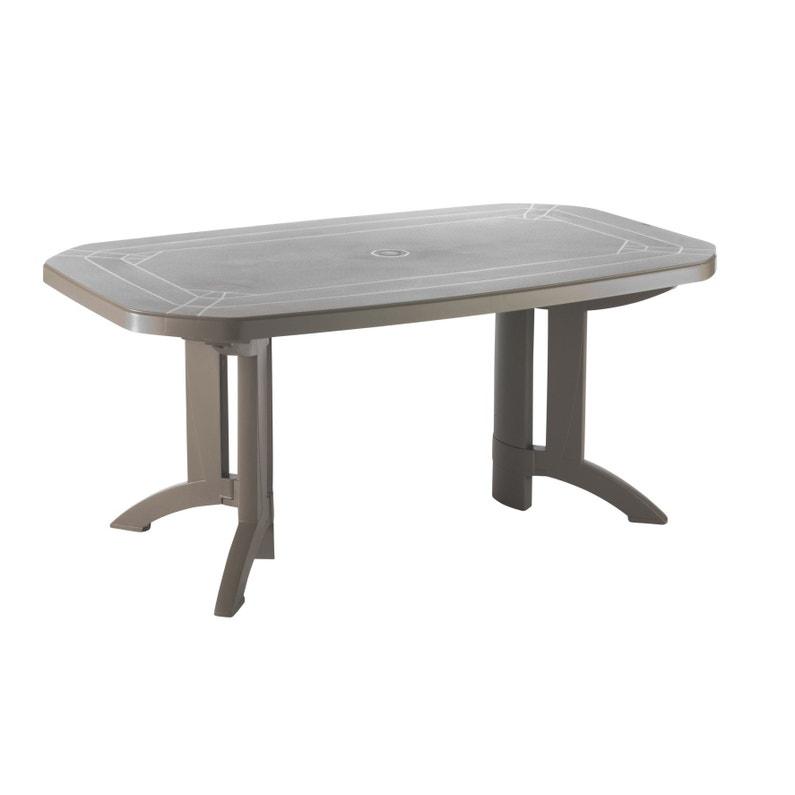 Table de jardin de repas GROSFILLEX Véga rectangulaire taupe 8 personnes