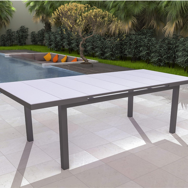Table de jardin NATERIAL Niagara rectangulaire gris 6 personnes