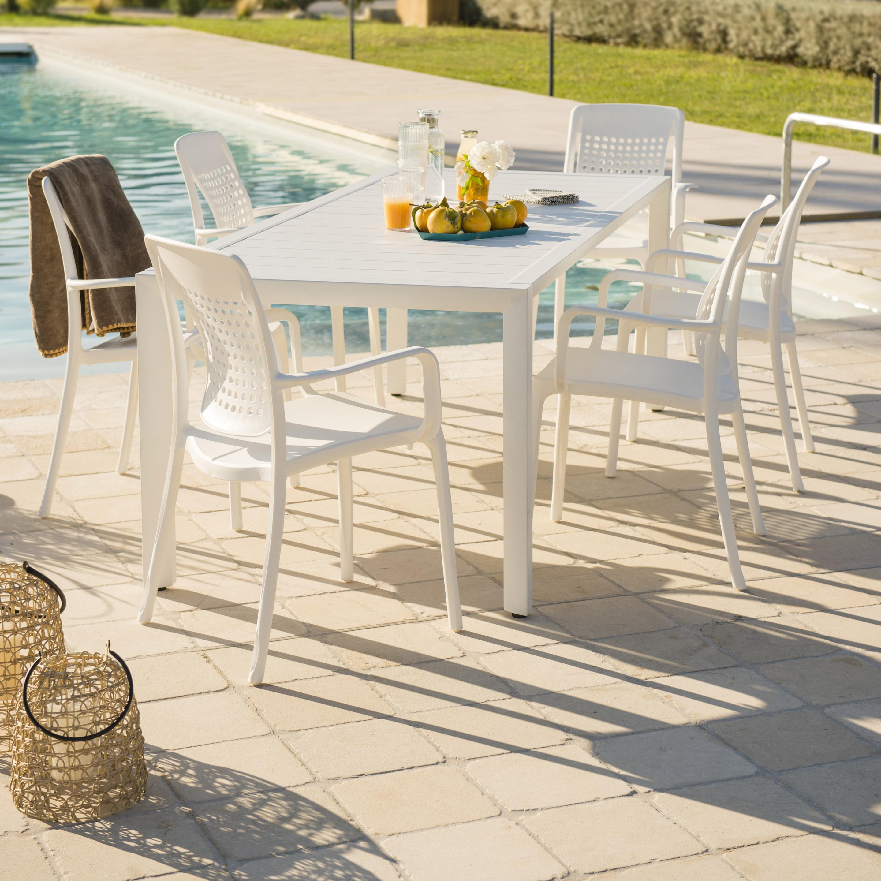 Table de jardin de repas Sunset rectangulaire blanc 12 personnes