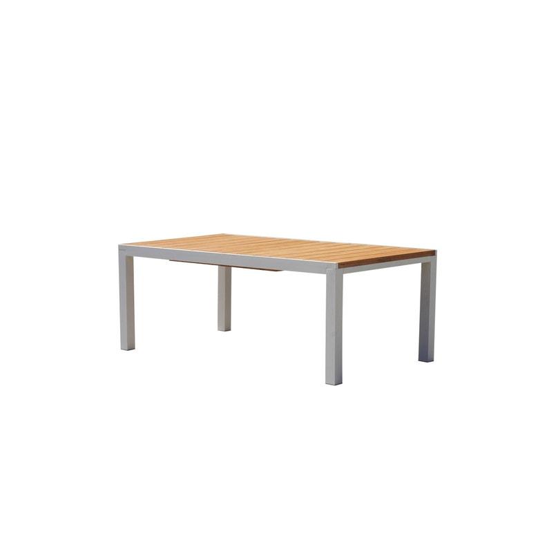 Table de jardin de repas Eze rectangulaire blanc / brun 10 personnes
