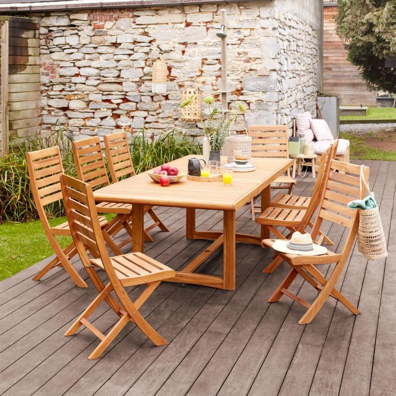 Table de jardin de repas NATERIAL Viena rectangulaire marron 6 personnes