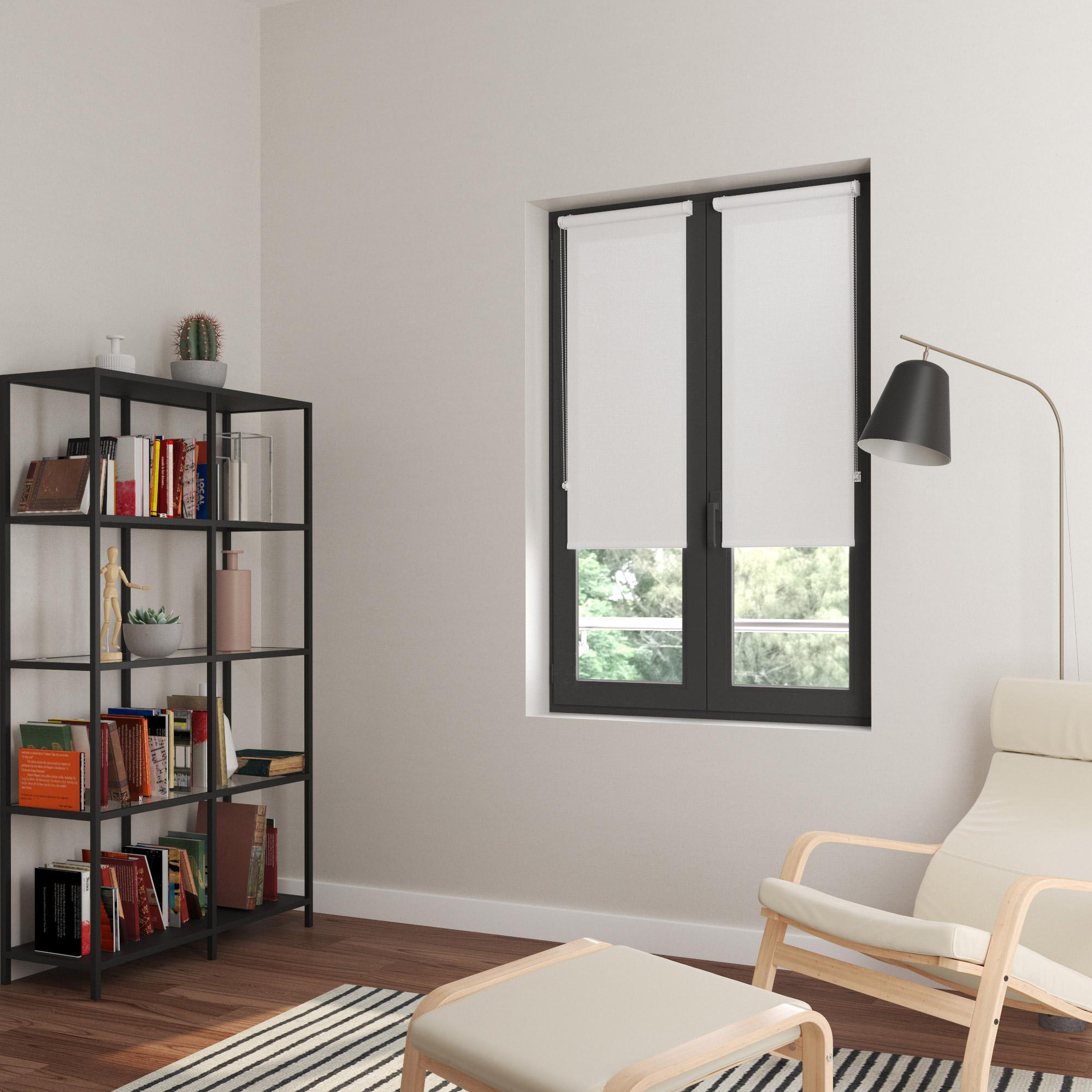 Store enrouleur tamisant, blanc Bilbao, l.45 x H.160 cm