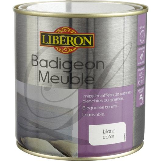 Lasure mat liberon badigeon meuble blanc coton 0 5 l leroy merlin - Badigeon meuble liberon ...