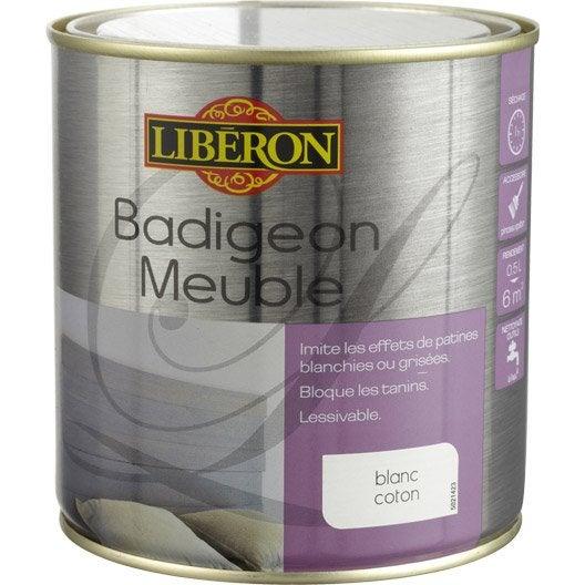 Lasure Badigeon meuble LIBERON, blanc coton, 0.5 L | Leroy Merlin
