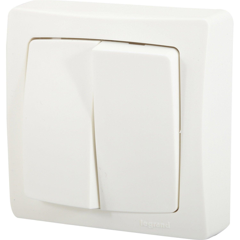 double interrupteur va et vient saillie asl legrand. Black Bedroom Furniture Sets. Home Design Ideas