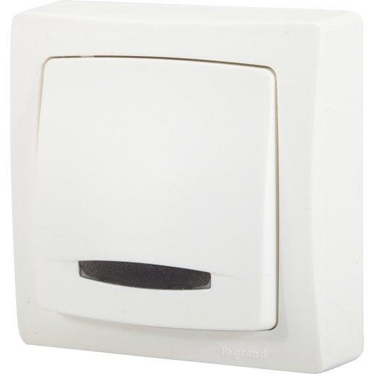 interrupteur va et vient saillie voyant lumineux asl legrand blanc leroy merlin. Black Bedroom Furniture Sets. Home Design Ideas