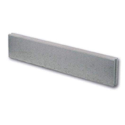 Bordure droite b ton gris x cm leroy merlin for Bordure de jardin beton