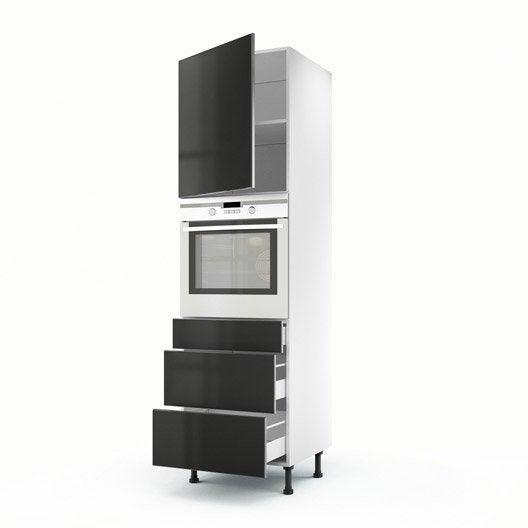 meuble de cuisine colonne gris 1 porte 3 tiroirs frost x x cm leroy merlin. Black Bedroom Furniture Sets. Home Design Ideas