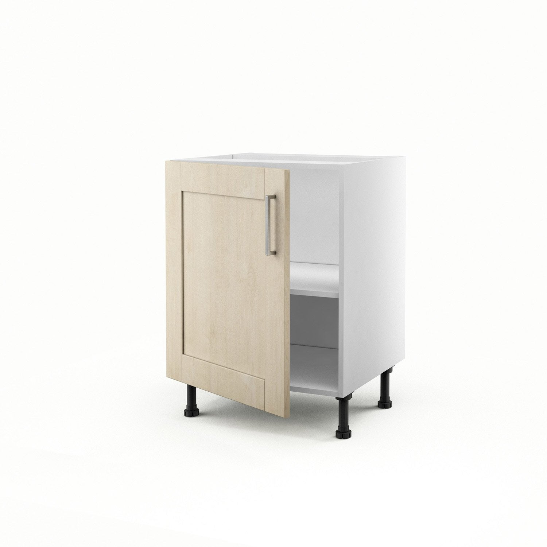 meuble de cuisine bas blanc 1 porte ines x x cm leroy merlin. Black Bedroom Furniture Sets. Home Design Ideas