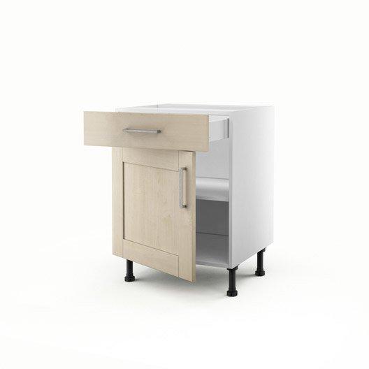 Meuble de cuisine bas blanc 1 porte 1 tiroir ines x for Meuble cuisine hauteur 70 cm