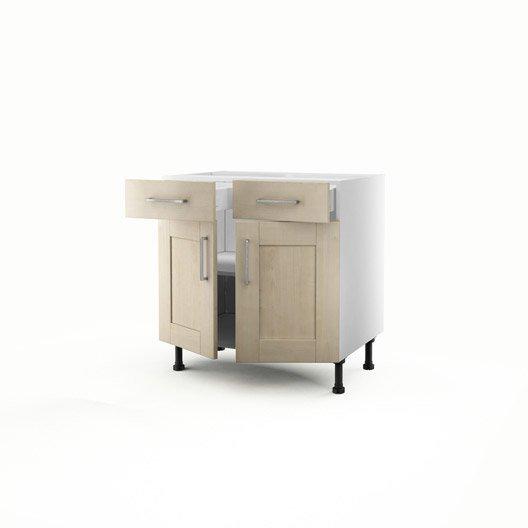 meuble de cuisine bas blanc 2 portes 2 tiroirs ines x x cm leroy merlin. Black Bedroom Furniture Sets. Home Design Ideas
