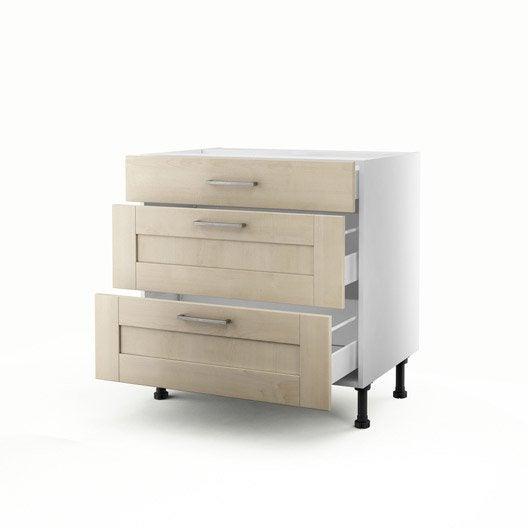 meuble de cuisine bas blanc 3 tiroirs ines x x cm leroy merlin. Black Bedroom Furniture Sets. Home Design Ideas