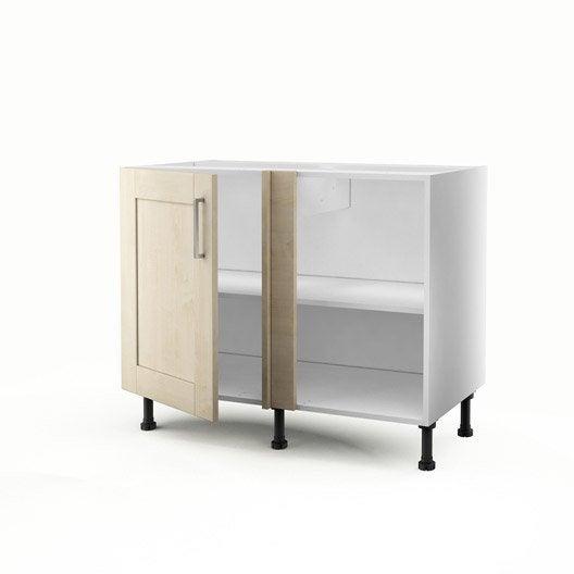 Meuble de cuisine bas d 39 angle blanc 1 porte ines x l - Meuble blanc de cuisine ...