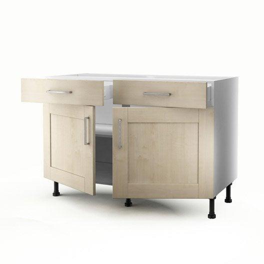 Meuble de cuisine bas blanc 2 portes 2 tiroirs ines - Meuble bas cuisine 2 portes 2 tiroirs ...