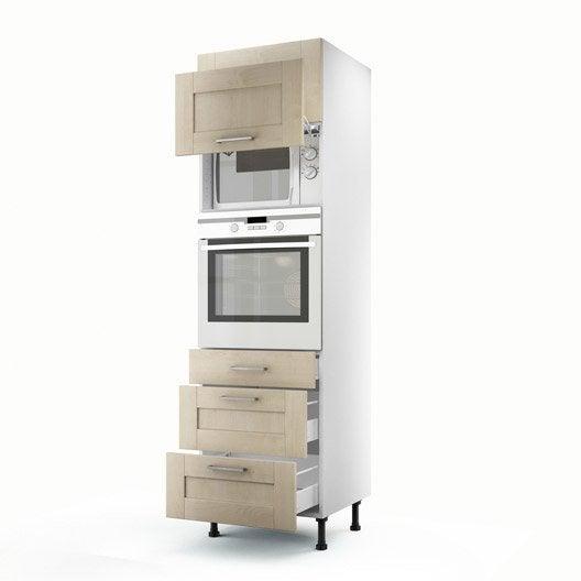 Meuble de cuisine colonne blanc 2 portes 3 tiroirs ines - Colonne de cuisine 60 cm ...