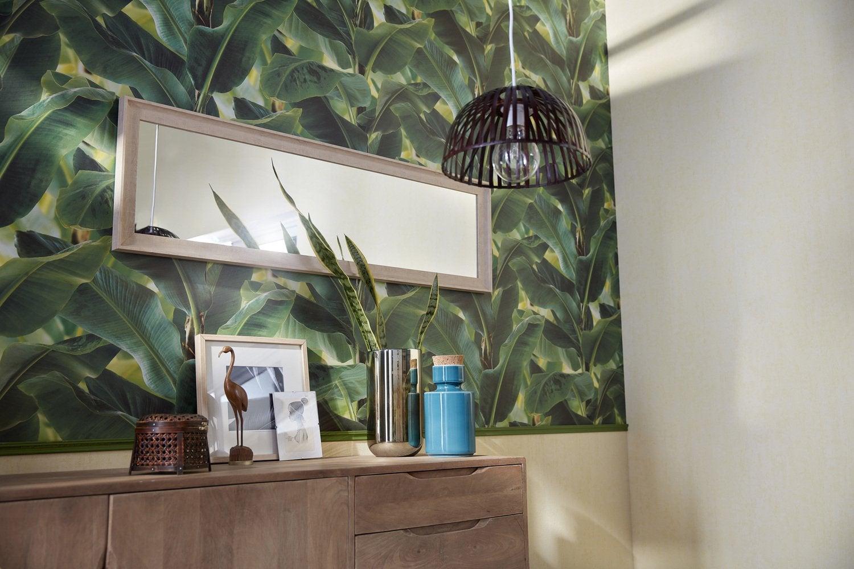 un papier peint jungle qui remplace la t te de lit leroy merlin. Black Bedroom Furniture Sets. Home Design Ideas