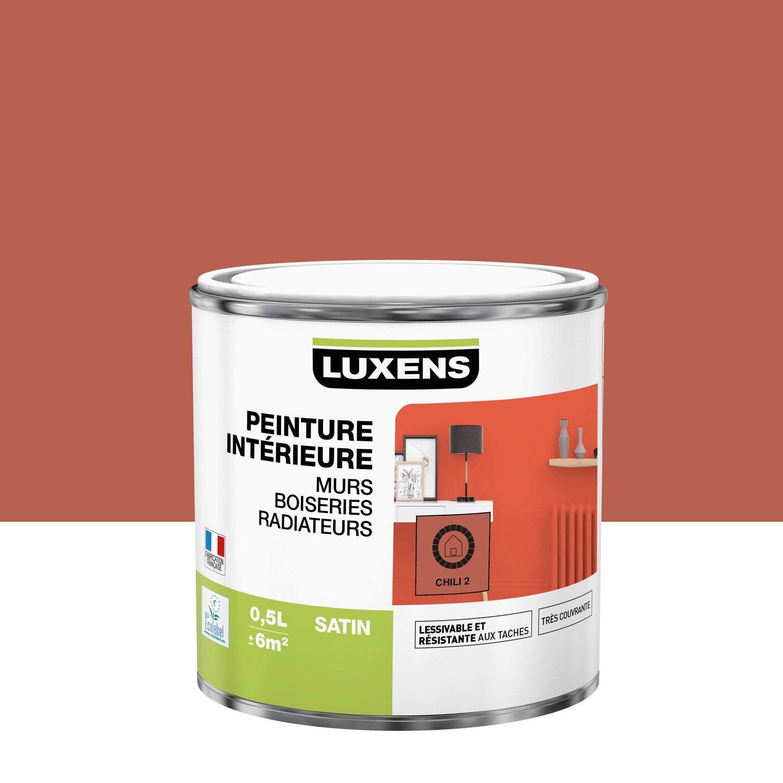 Peinture, mur, boiserie, radiateur, Multisupports LUXENS, chili 2, satiné, 0.5 l