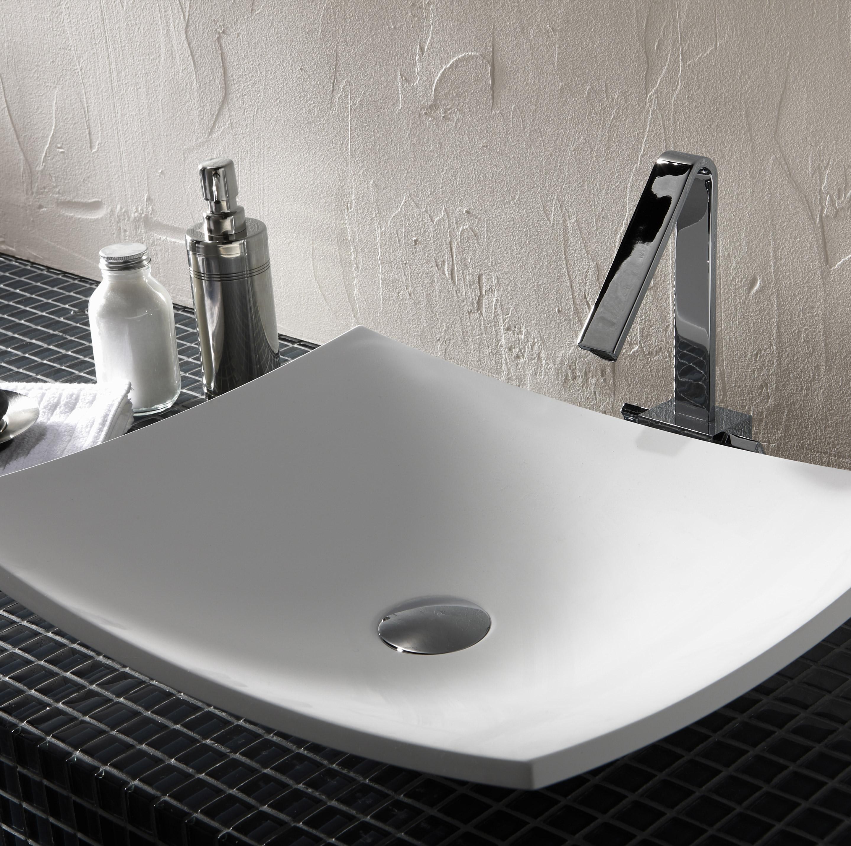 Vasque à poser résine de synthèse l.50 x P.40 cm blanc Natura