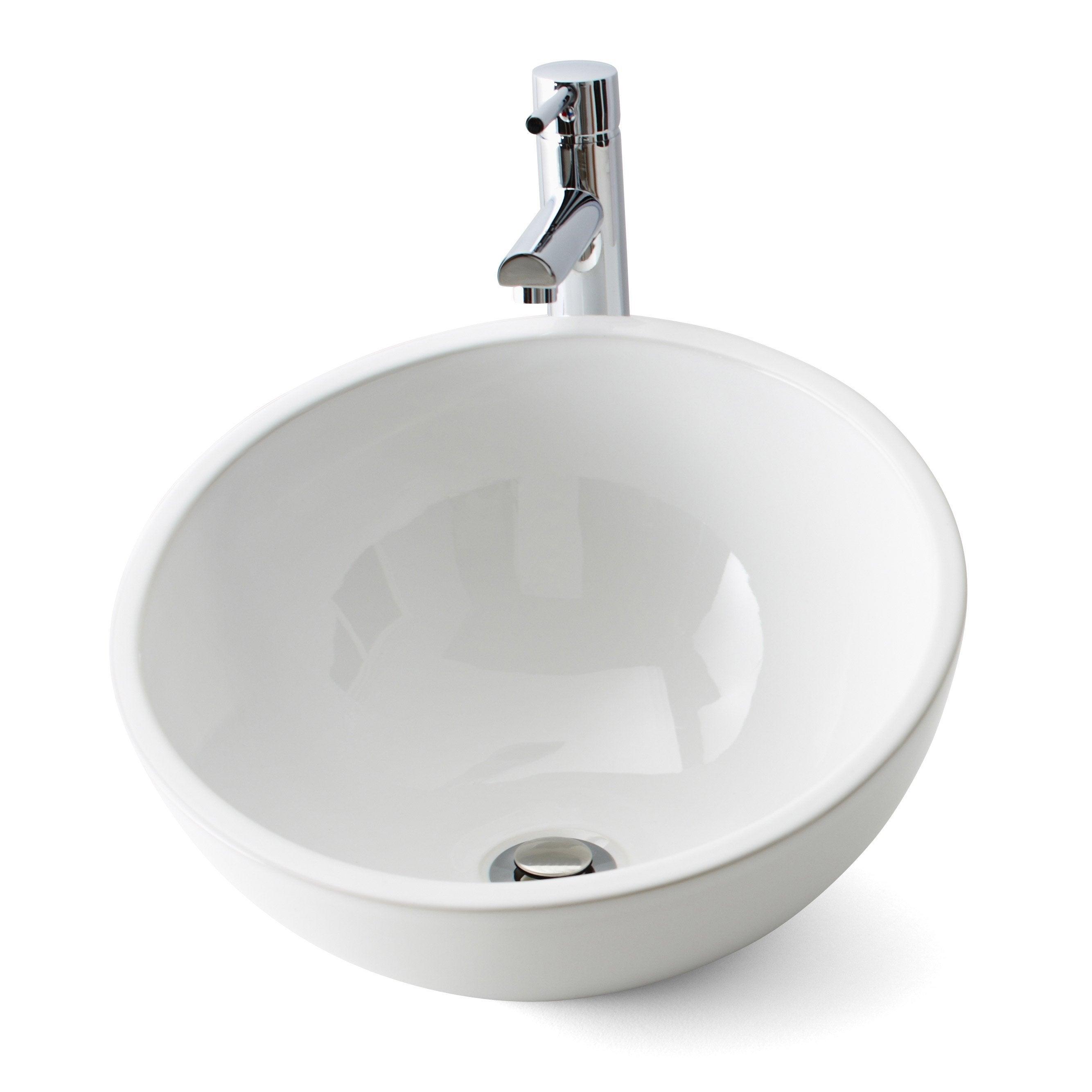 Vasque à poser céramique Diam.40 cm blanc Lounge