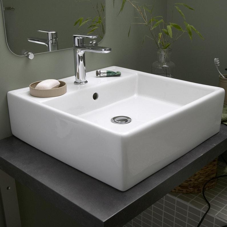 Vasque à Poser Céramique L 46 X P 46 Cm Blanc Edge