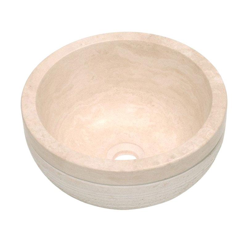Vasque à poser travertin Diam.40.6 cm beige / naturel Sophia