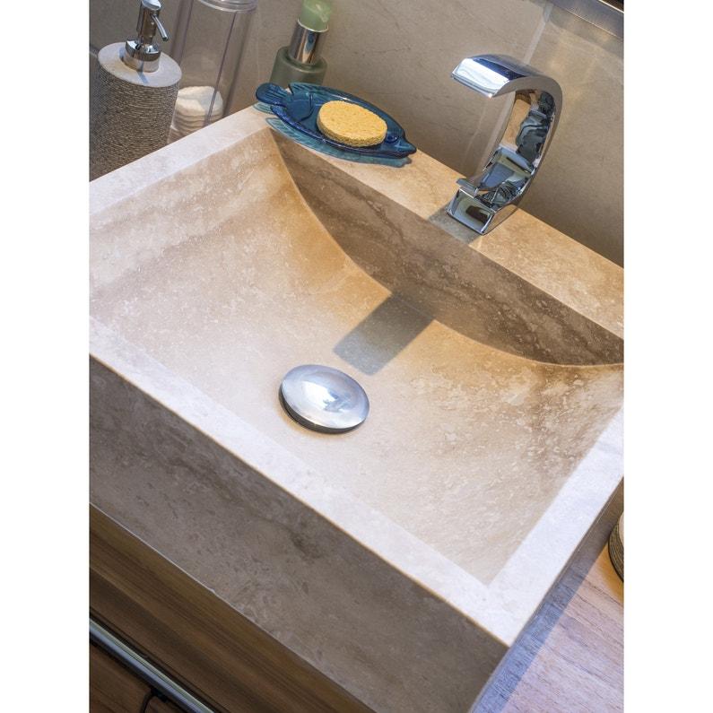 Vasque à poser travertin l.45 x P.45 cm beige / naturel Ninon ...