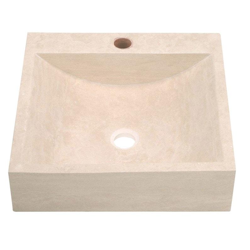 Vasque à poser travertin l.45 x P.45 cm beige / naturel Ninon