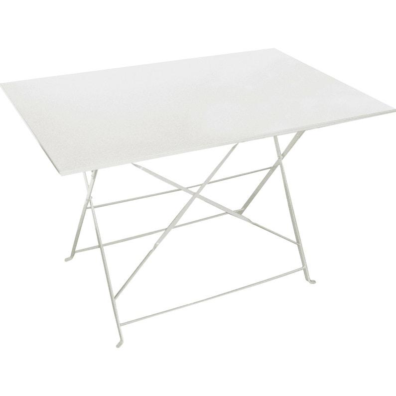 Table de jardin de repas Flore rectangulaire blanc 4 personnes