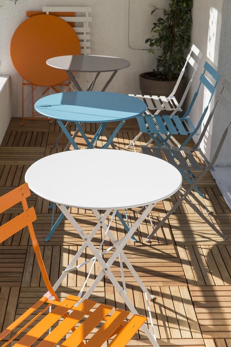 Table De Jardin De Repas Flore Ronde Blanc 4 Personnes Leroy Merlin