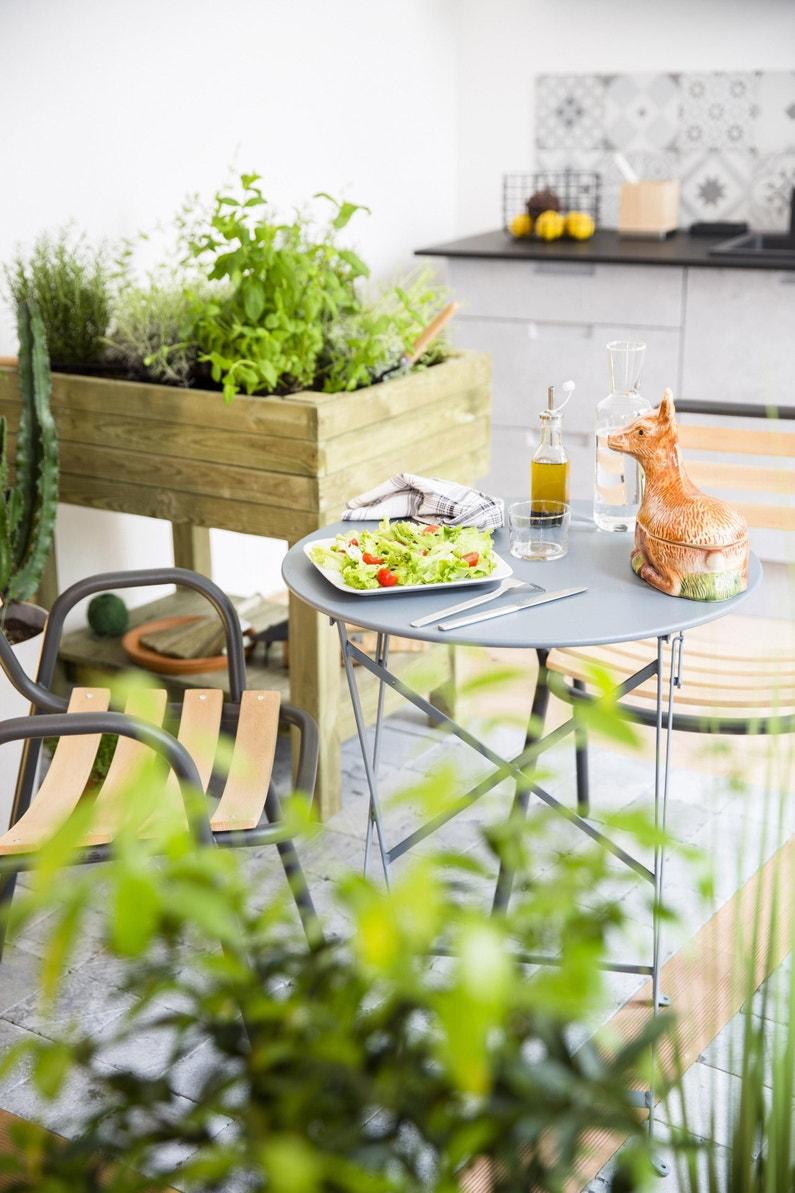 Table de jardin de repas FERMOB Bistro ronde gris orage 2 personnes