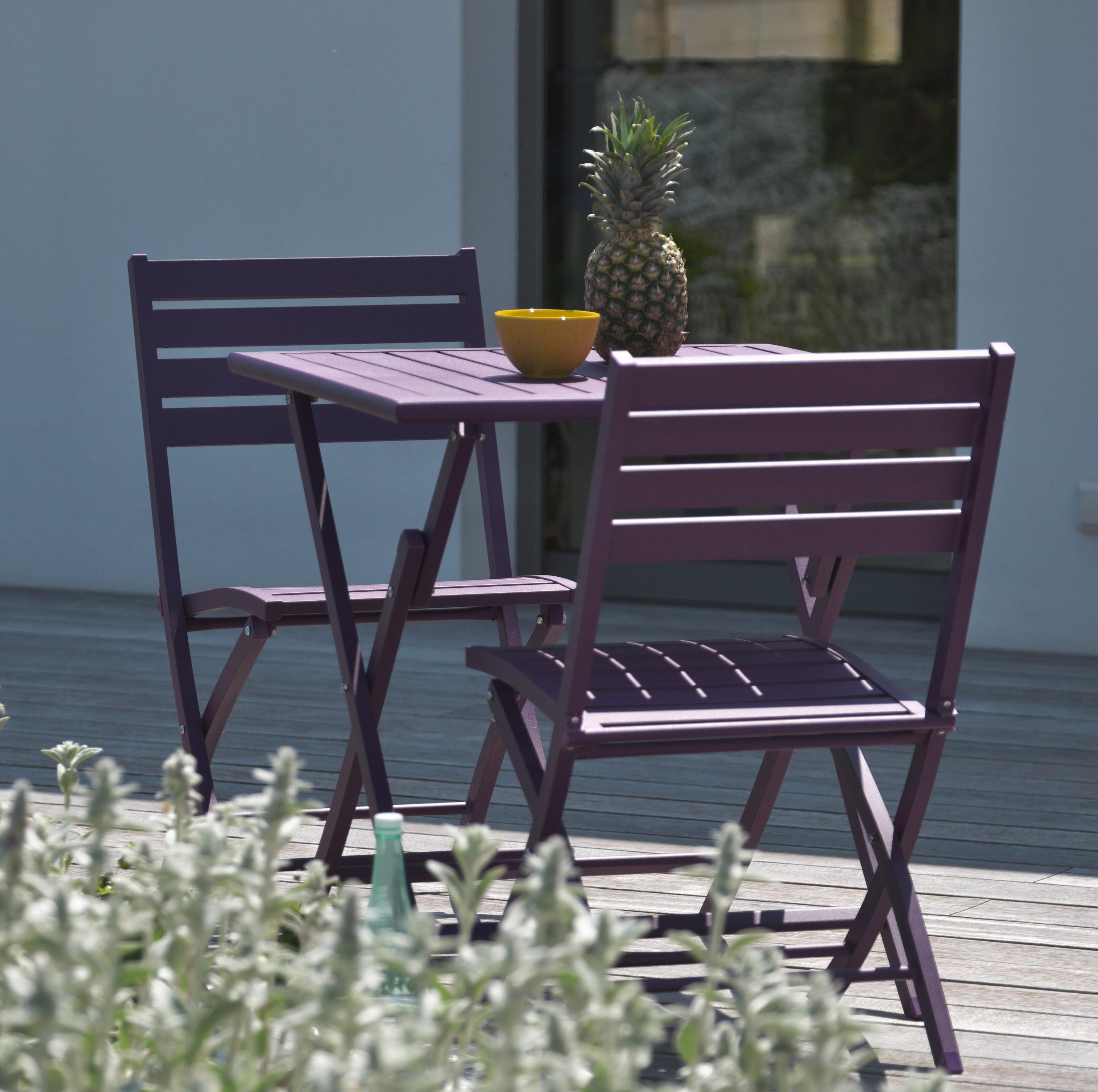 Table de jardin de repas Marius carrée aubergine 2 personnes