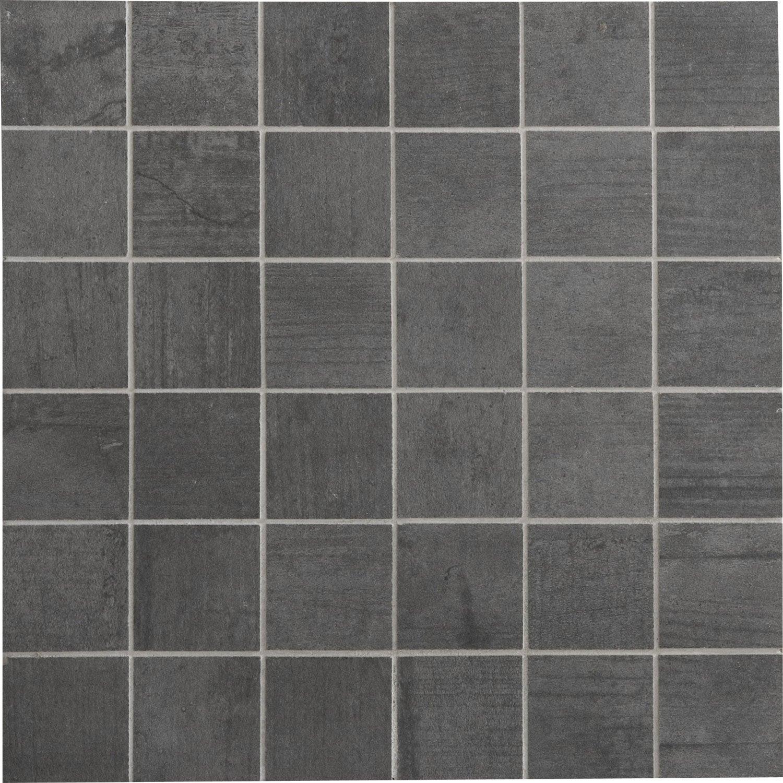 Mosaïque sol et mur Industry anthracite 5 x 5 cm | Leroy Merlin