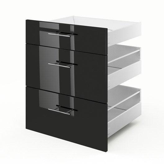 3 tiroirs de cuisine noir rio x x cm for Element de cuisine noir