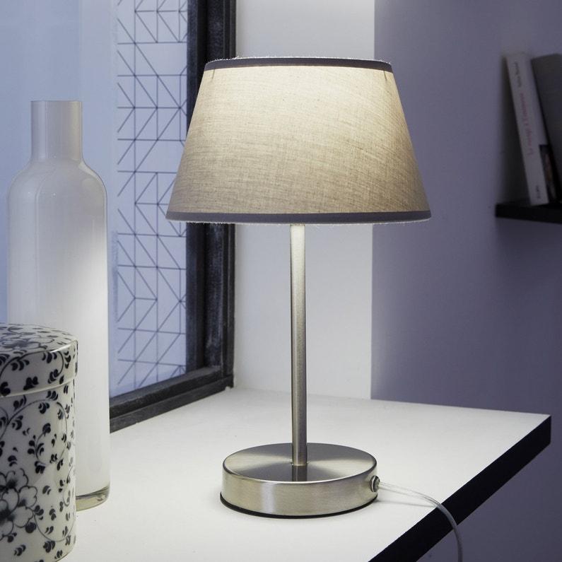 Pied De Lampe Cipro Métal Satin Nickel 27 Cm Inspire