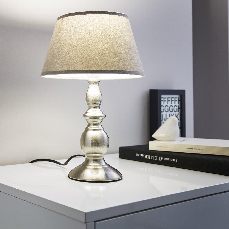 Pied de lampe Valdepi, métal acier, 25 cm, INSPIRE