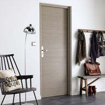 Porte sans bâti mdf revêtu décor chêne fumé gris Londres 204x73cm poussant droit