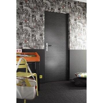 Porte sans bâti mdf revêtu décor chêne grisé Londres, 204x83cm poussant gauche