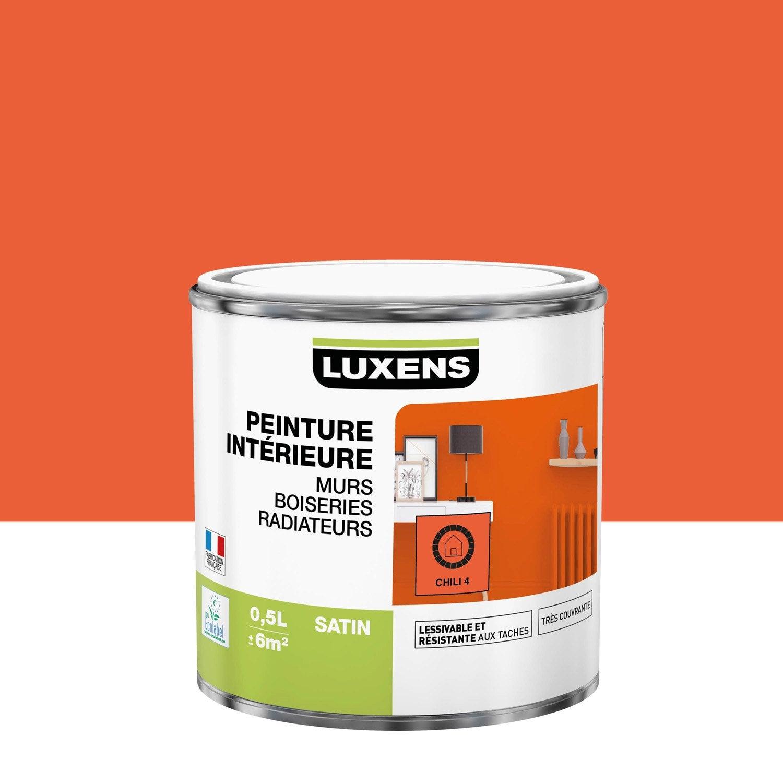 Peinture, mur, boiserie, radiateur, Multisupports LUXENS, chili 4, satiné, 0.5 l