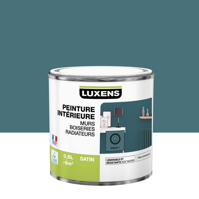 Peinture mur, boiserie, radiateur Multisupports LUXENS, aqua 1, 0.5 l, satin