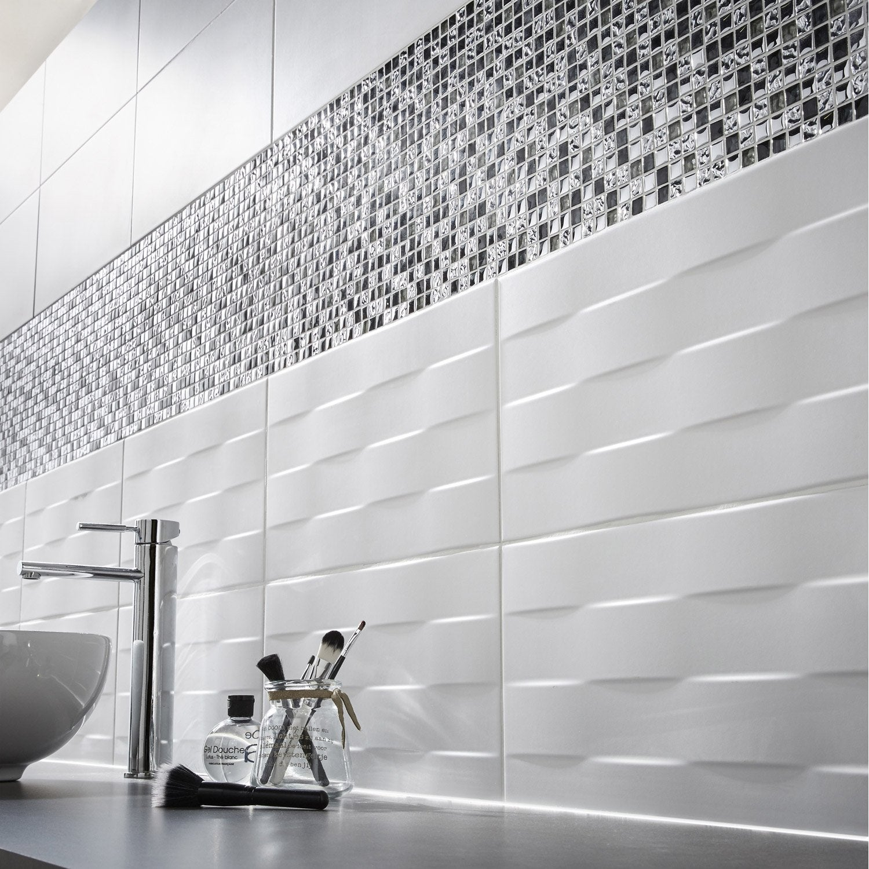 Carrelage Douche Blanc carrelage mur blanc, décor tressé l.25 x l.40 cm | leroy merlin