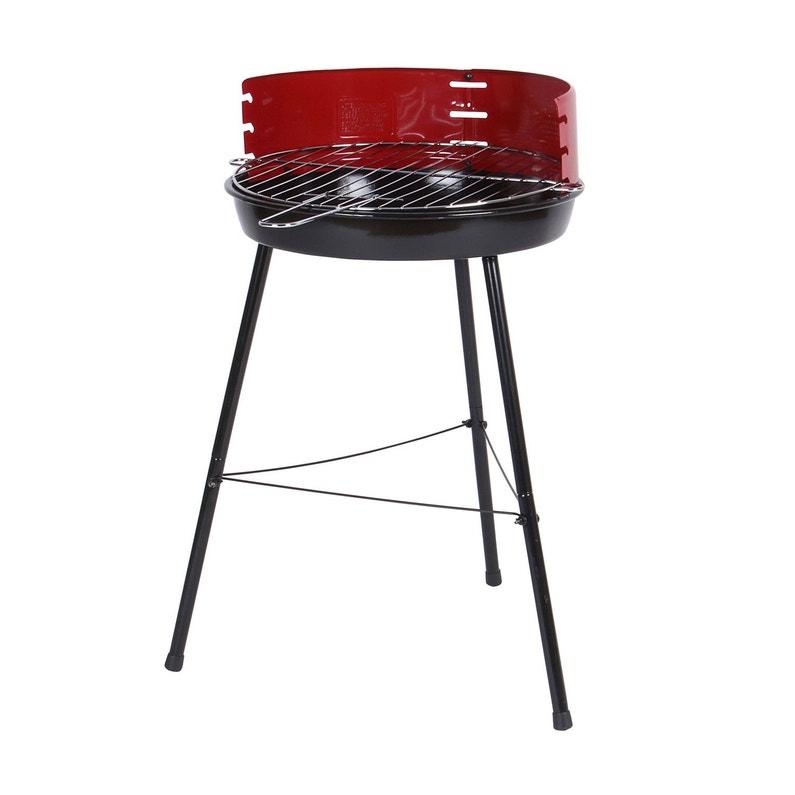 Barbecue Au Charbon De Bois Beach Grill Noir Avec Parevent Rouge