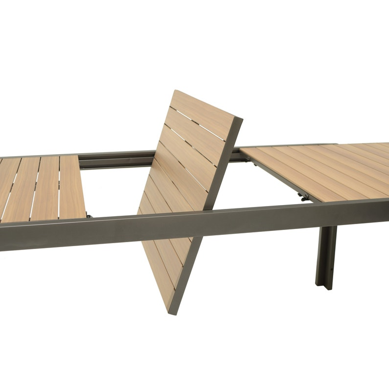Table de jardin de repas Java rectangulaire gris cosmos / teck 8/10  personnes