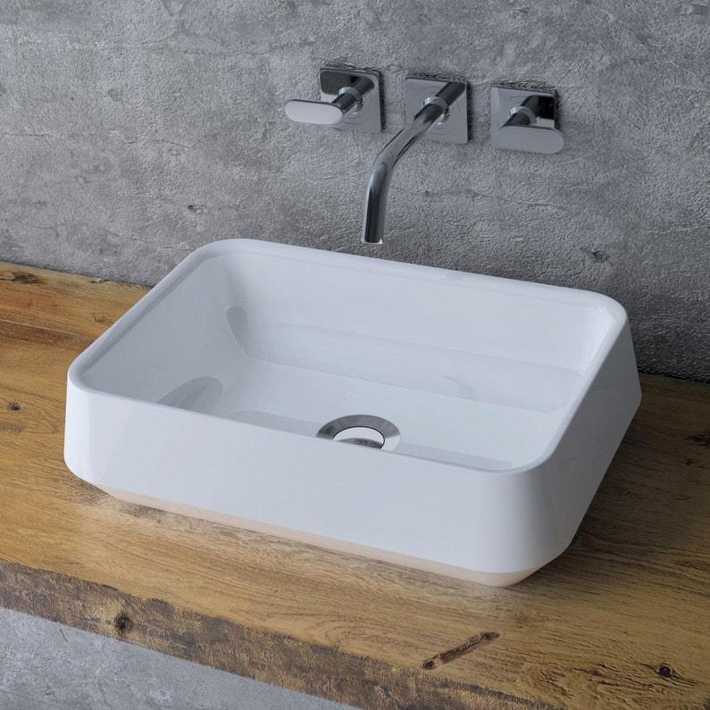 Vasque à poser résine de synthèse l.45 x P.32 cm blanc Bjorg   Leroy ...