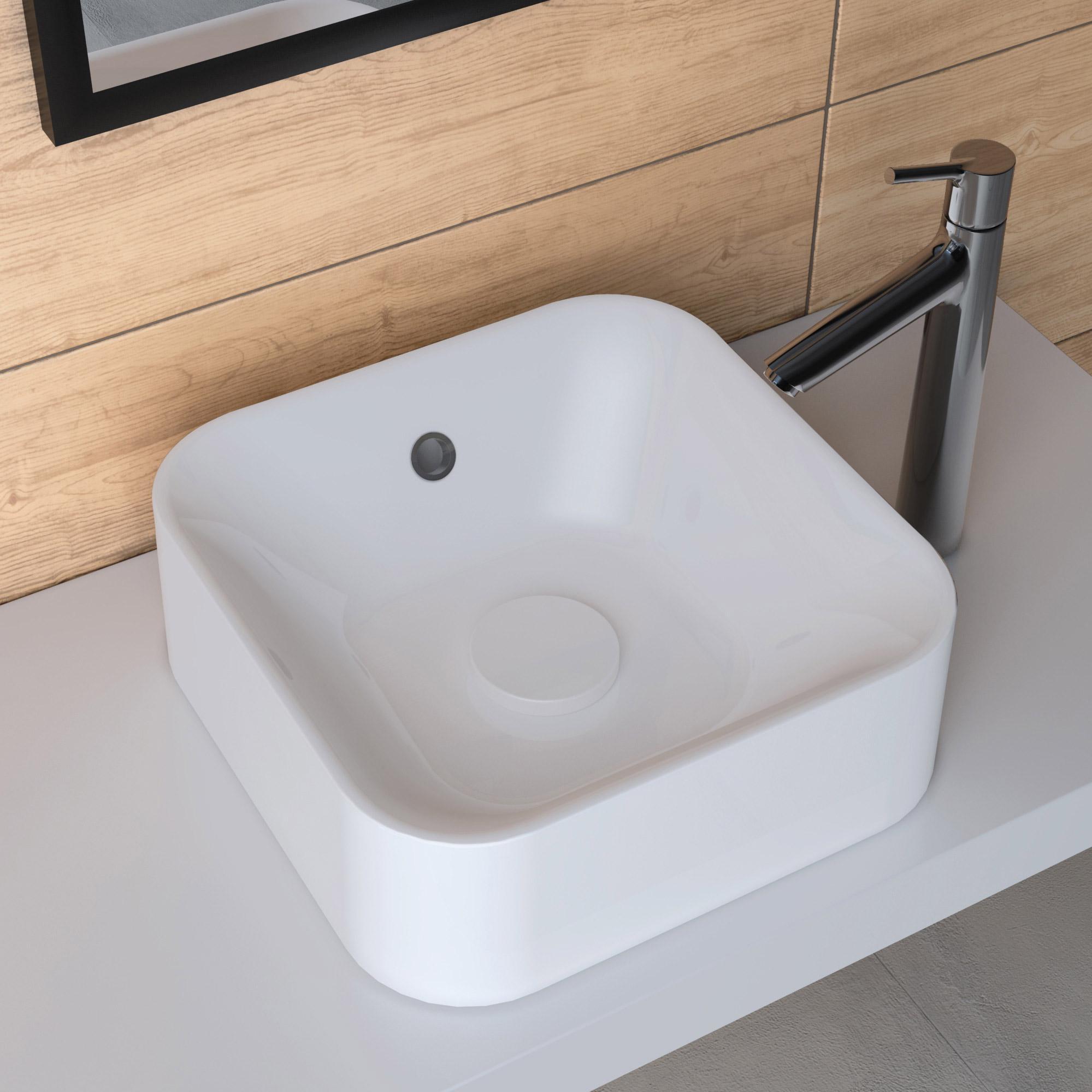 Vasque à poser résine de synthèse l.38 x P.38 cm blanc, SENSEA Capsule