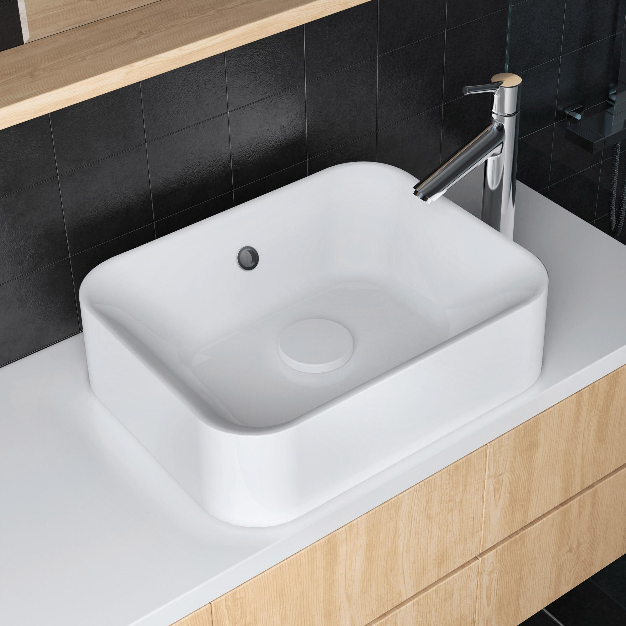 Vasque à poser rectangulaire résine l.48 x P.38 cm blanc Capsule