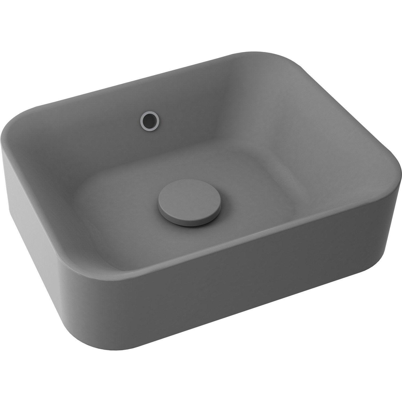 vasque a poser grise 2 ... Vasque à poser résine de synthèse l.48 x P.38 cm gris anthracite ...