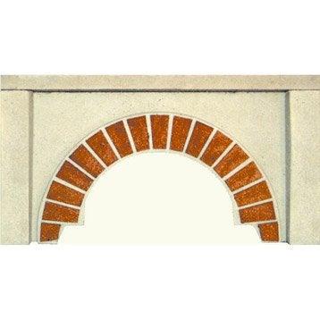 Façade en pierre reconstituée blanc et terre cuite Arcade, l.100 x L.19 x H.54cm